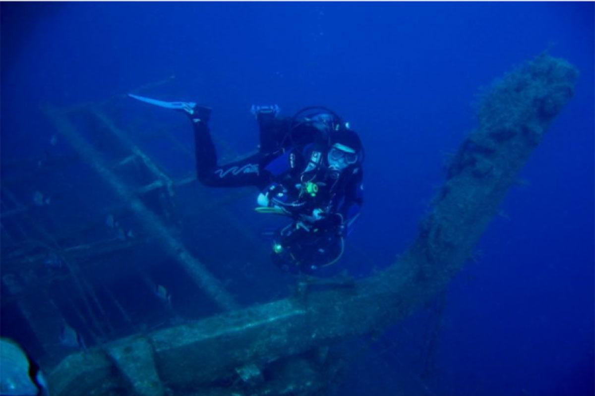 Diver on the Zenobia lifeboats
