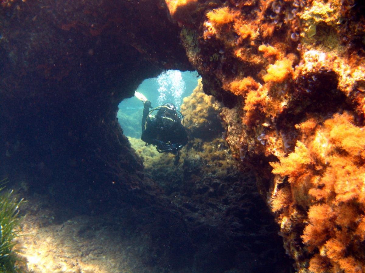 Swim throughs diving off the Akamas