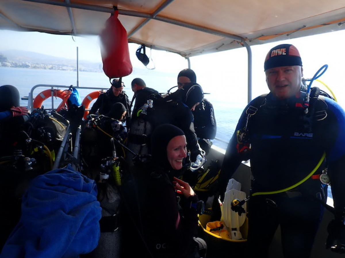 Dive boat in Pissouri