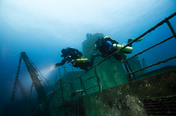 Technical divers on a wreck